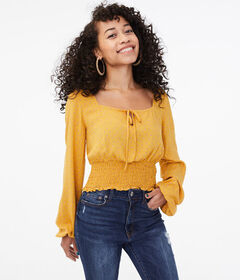 Aeropostale Long Sleeve Dot Smocked Crop Top