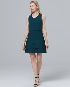 Parker Faux Leather-Piping A-Line Dress