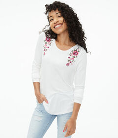 Aeropostale Long Sleeve Seriously Soft Floral Embr