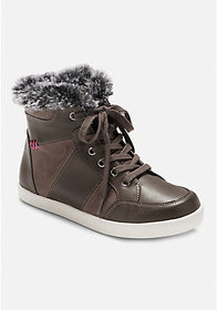 Justice Fur Trim High Top Sneaker