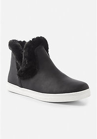 Justice Fur Trim Slip On Booties