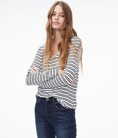 Aeropostale Long Sleeve Seriously Soft Striped V-N