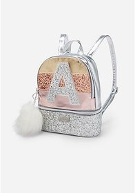 Justice Glitter Stripe Initial Mini Backpack