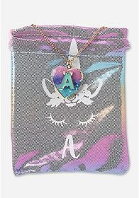 Justice Unicorn Initial Locket Necklace