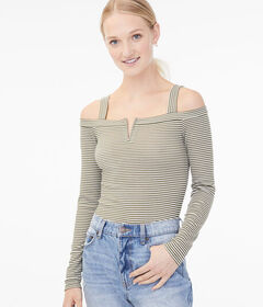 Aeropostale Long Sleeve Striped Cold-Shoulder Top