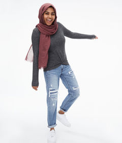 Aeropostale Long Sleeve Twist-Front Top