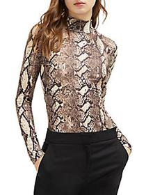 French Connection Animal-Printed Mockneck Top NEUT