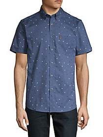 Ben Sherman Dotted Short-Sleeve Shirt TRUE NAVY