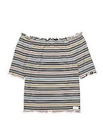 7 For All Mankind Girl's Striped Off-The-Shoulder
