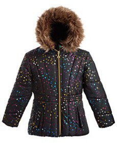 Toddler Girls Hooded Foil-Print Jacket With Faux-F
