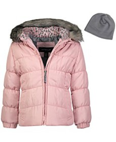 Toddler Girls Hooded Puffer Jacket With Faux-Fur T