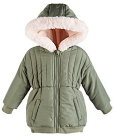 Toddler Girls Hooded Jacket With Faux-Fur Trim, Cr
