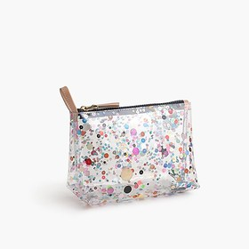 J. Crew Vinyl makeup pouch with oversize glitter