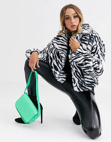 Jayley zebra print cropped faux fur jacket