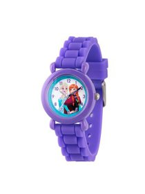 Frozen Elsa and Anna Girls' Purple Plastic Time Te