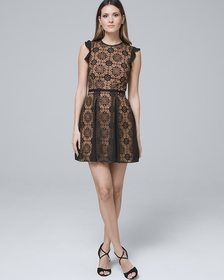 ML Monique Lace Fit-and-Flare Dress