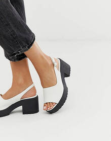 ASOS DESIGN Steal chunky slingback mid heels in wh