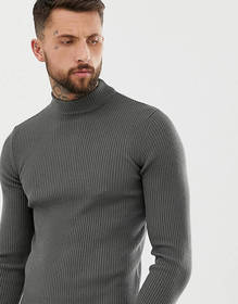 ASOS DESIGN muscle fit ribbed turtleneck sweater i