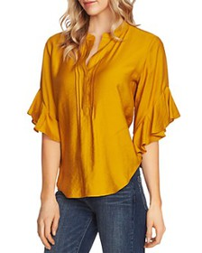 VINCE CAMUTO - Pintucked Flutter-Sleeve Blouse