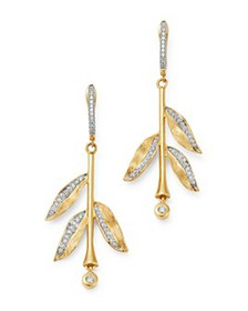 Bloomingdale's - Diamond Leaf Drop Earrings in 14K