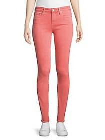 Paige Jeans Mid-Rise Skinny Buttoned Jeans PINK