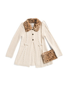 MAX STUDIO Little Girls Sweater Coat With Faux Fur
