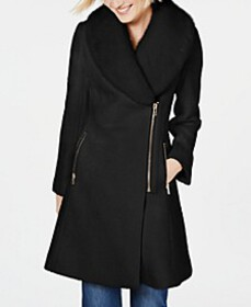 INC Faux-Fur-Trim Asymmetrical Walker Coat, Create