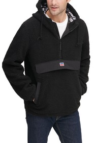 Levi's Faux Shearling Hooded Partial Zip Sweater