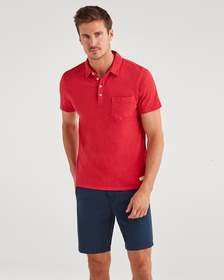 7 For All Mankind Boxer Four Button Polo in Tomato