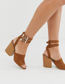 RAID Orita tan buckle detail heeled sandals with s