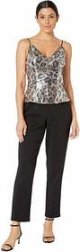 Adrianna Papell Animal Print Sequin Jumpsuit with