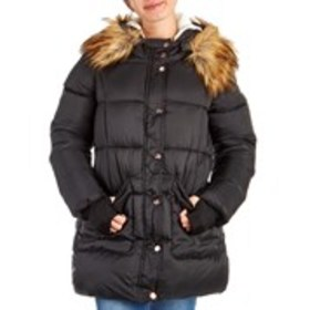 JESSICA SIMPSON Rose-Gold Button Parka with Faux F