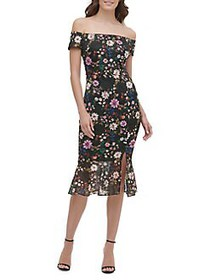 Guess Floral-Print Midi Dress BLACK MULTI