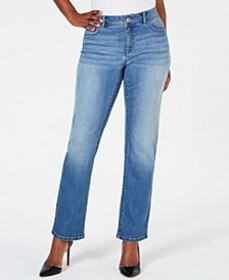 INC Curvy-Fit Straight-Leg Jeans with Tummy Contro