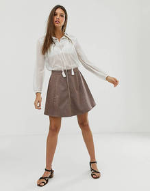 JDY houndstooth zip through mini skirt