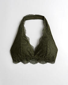 Hollister Lace Halter Bralette With Removable Pads