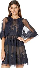 BCBGMAXAZRIA Lace Dress with Overlay Cape Detail