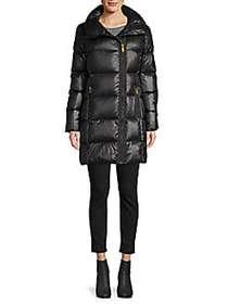 Donna Karan Waxed Asymmetrical-Zip Down Jacket BLA