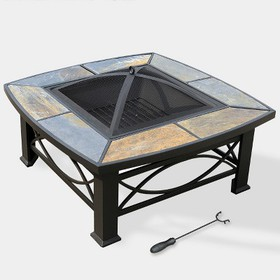"Alba 33"" Slate Top Fire Table - Slate Gray - leisu"