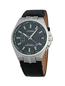 Citizen Stainless Steel & Leather-Strap Watch NO C