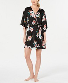 INC Floral-Print Lace-Trim Robe, Created for Macy'
