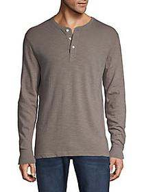 French Connection Long-Sleeve Cotton Henley BROWN