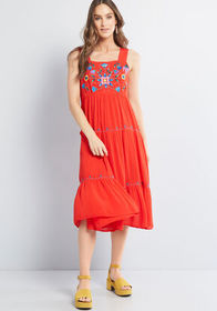 Louche Louche Sweet and Free Tiered Midi Dress Red