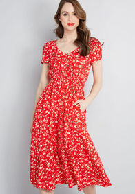 ModCloth ModCloth Inspired Anytime Midi Dress Red