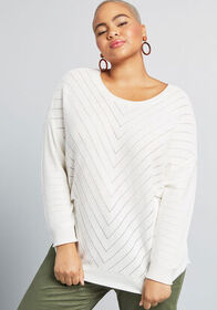 ModCloth Eye on Design Pointelle Sweater in Ivory