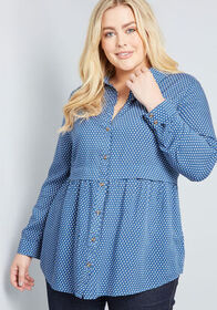 Around the Corner Long Sleeve Tunic in Blue Dotted