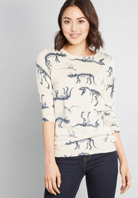 ModCloth ModCloth Put to Quirk Sweater Ivory Print
