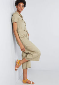 Essence of Adventure Linen Jumpsuit Olive
