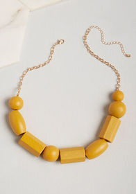 On the Bright Side Wood Necklace Mustard