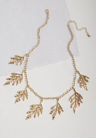Turning a New Leaf Statement Necklace in Gold Anti